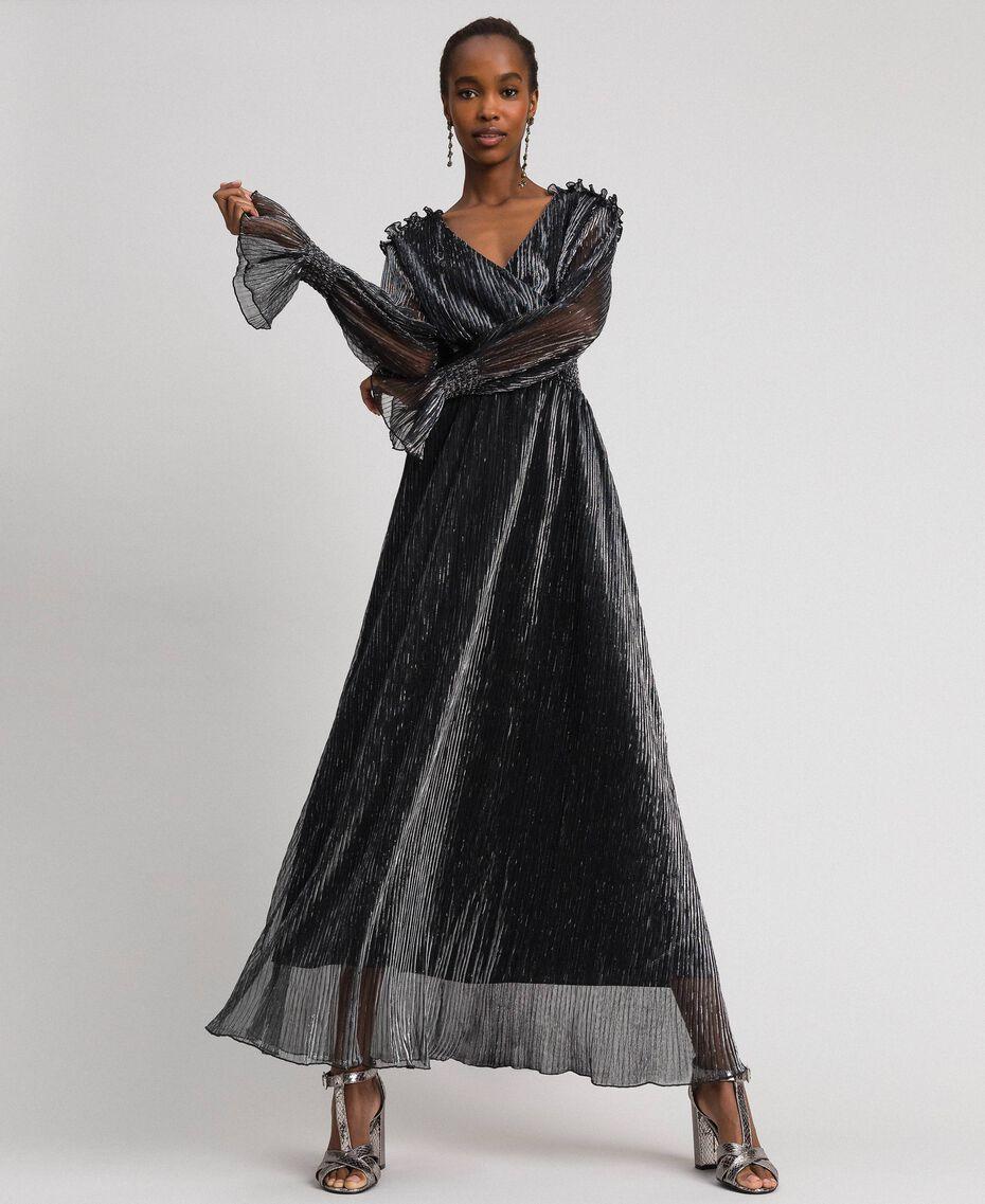 Длинное платье из тюля-крепон с металлизированными нитями Черный / Серебристый женщина 192MT2141-01