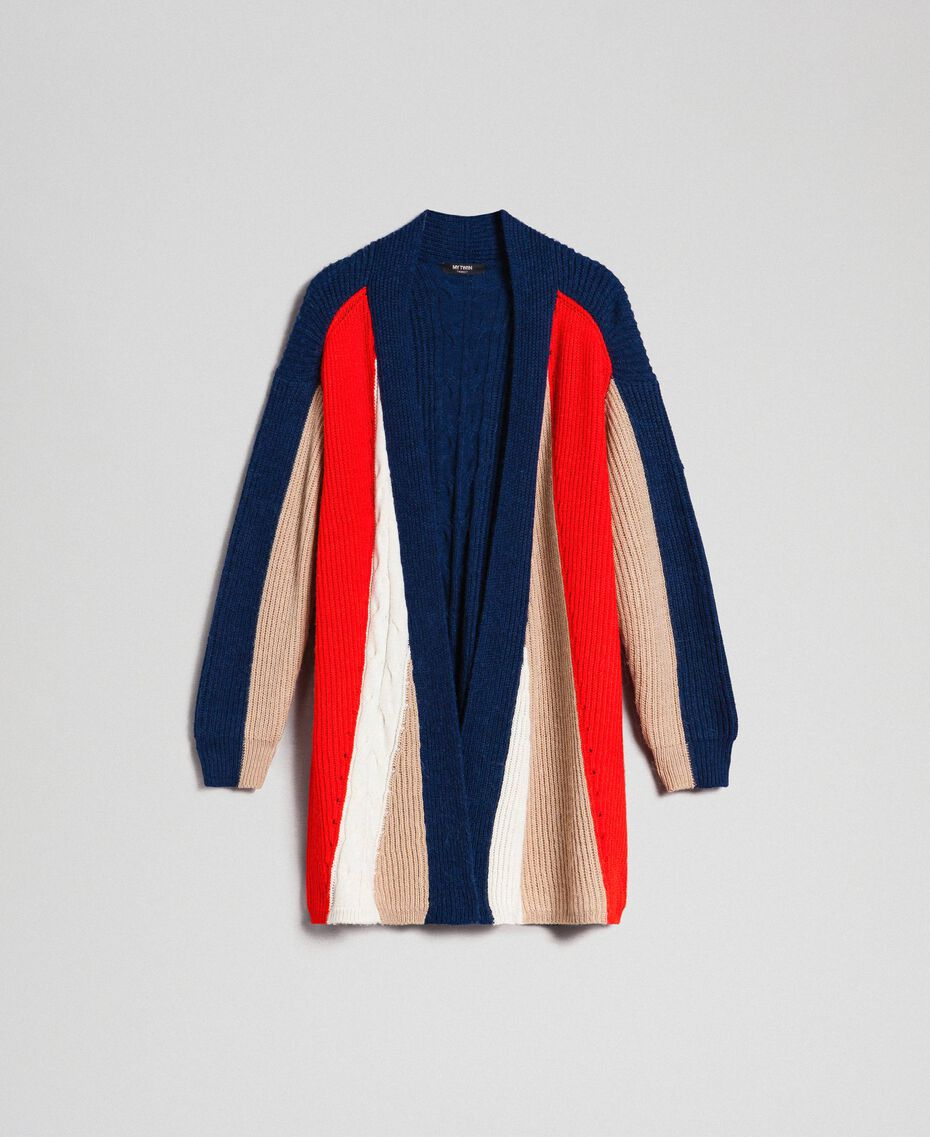 Maxicárdigan en mezcla de lana y alpaca Rojo «Coral» / Azul / Beige Mujer 192MT3073-0S