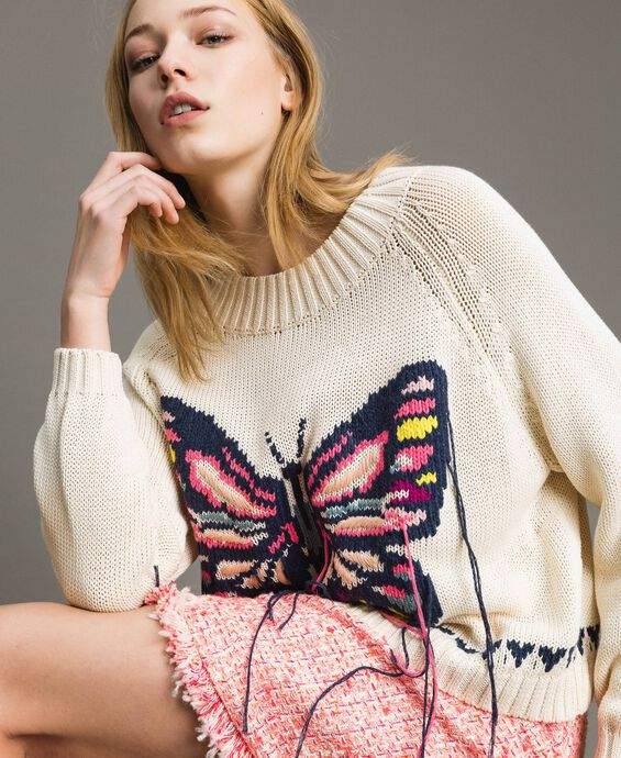 Boxy top with hand embroidered butterfly