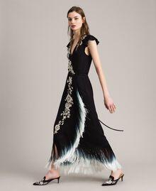 Robe longue avec broderie florale et franges Noir Femme 191TT2135-02