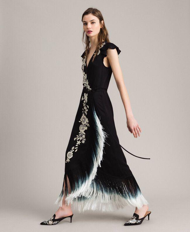 afc6bd78a50 Robe longue avec broderie florale et franges Noir Femme 191TT2135-02