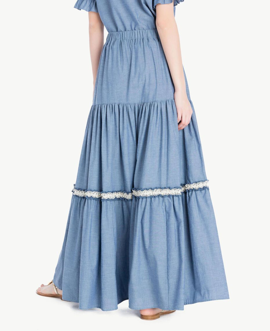 Jupe longue dentelle Denim Bleu Clair Femme TS82YK-03