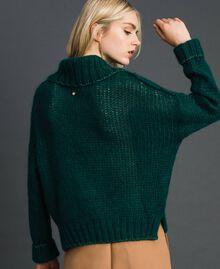 Mohair jumper with lurex stripes Dark Green Woman 192TP3292-04