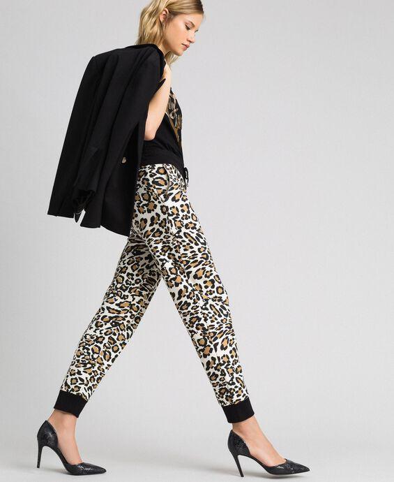 Animal print jogging trousers