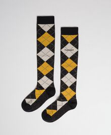 Long socks with lurex diamond shapes Black / Saffron Yellow Jacquard Woman 192TA4321-01