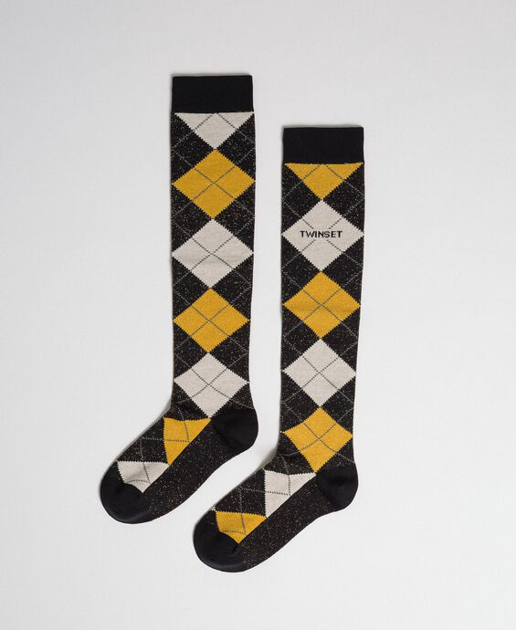 Long socks with lurex diamond shapes