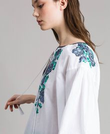 Flounced blouse with cross stitch embroideries White Woman 191MT2062-05