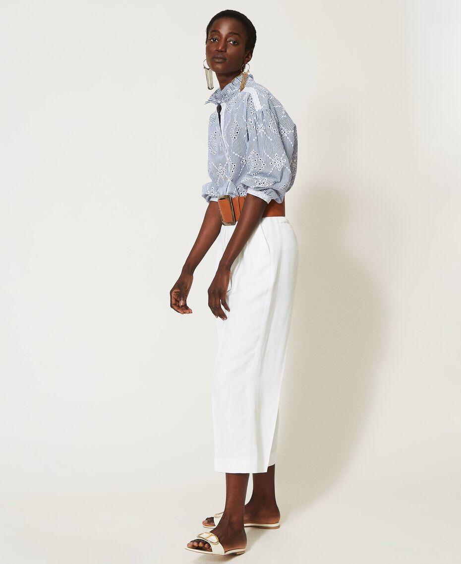 "Poplin shirt with broderie anglaise ""Snow"" White / ""Indigo"" Blue Stripe Broderie Anglaise Woman 211TT2412-02"