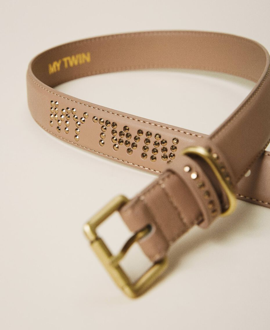 Faux leather belt with logo Camel Woman 202MA4354-01