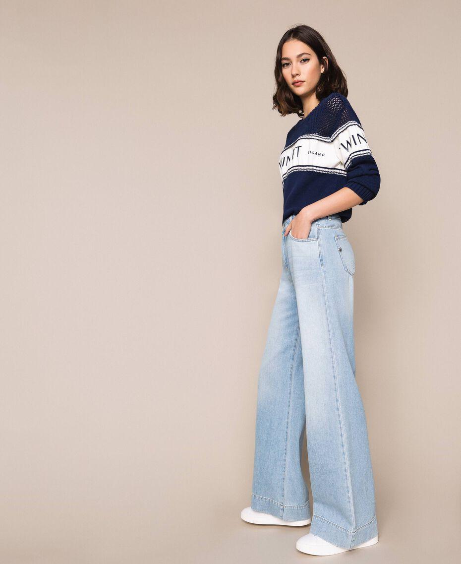 Wide leg jeans with five pockets Denim Blue Woman 201MP2281-02