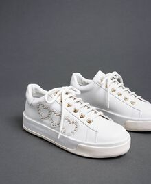 Leather trainers with hearts and studs White Woman 192TCP01Y-02