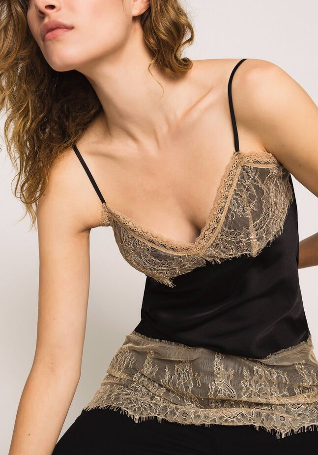Satin top with lace