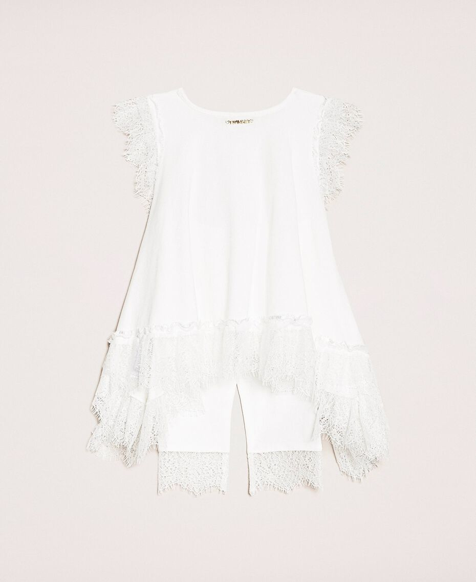 """Maxi tank top with ruffles and leggings """"Papers"""" White Child 201GB231J-0S"""