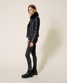 Faux leather biker jacket Black Woman 202MP2090-05