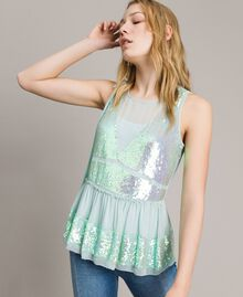 Top in georgette con paillettes Acquamarina Donna 191TP2584-02