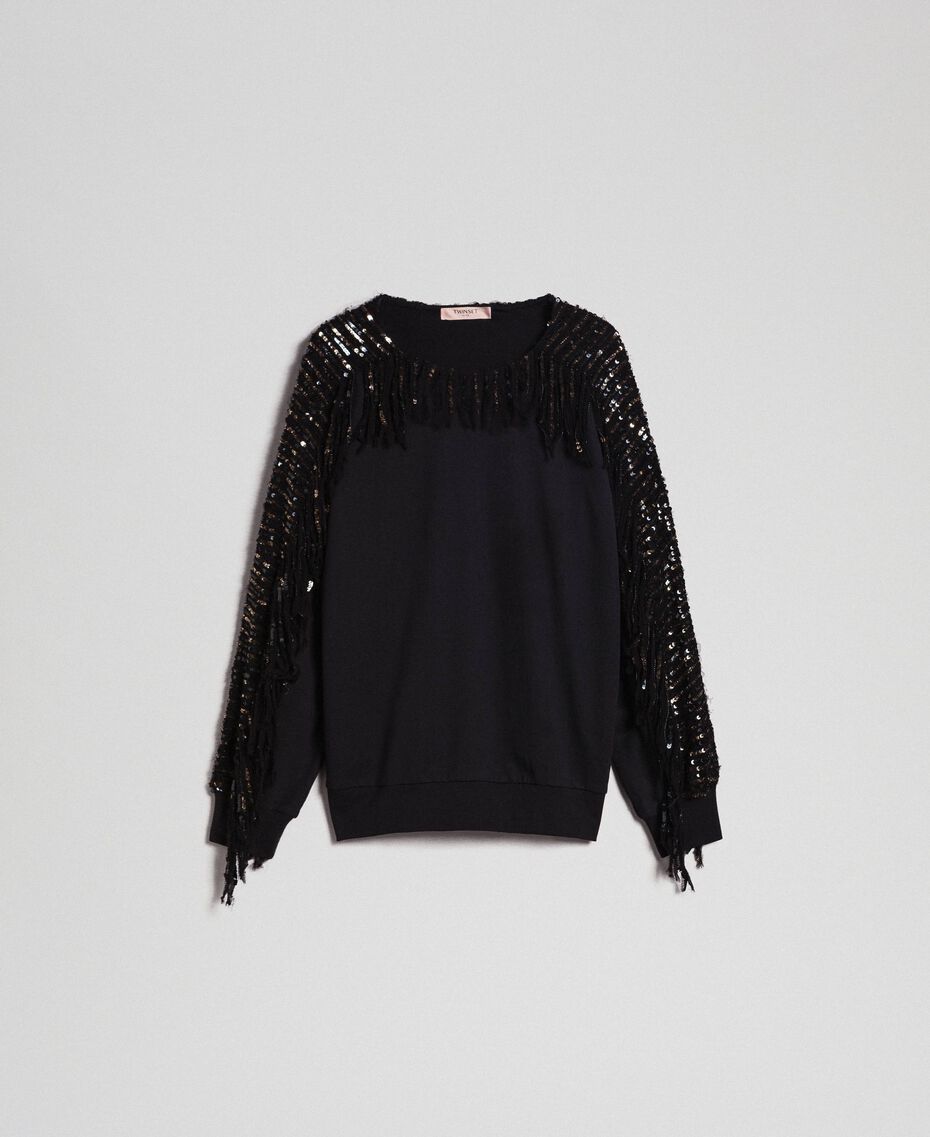 Oversize sweatshirt with sequin embroidery and fringes Black / Dark Gold Sequins Woman 192TT2481-0S