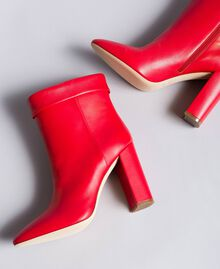 Bottines en cuir avec revers Rouge Coquelicot Femme CA8PLG-01