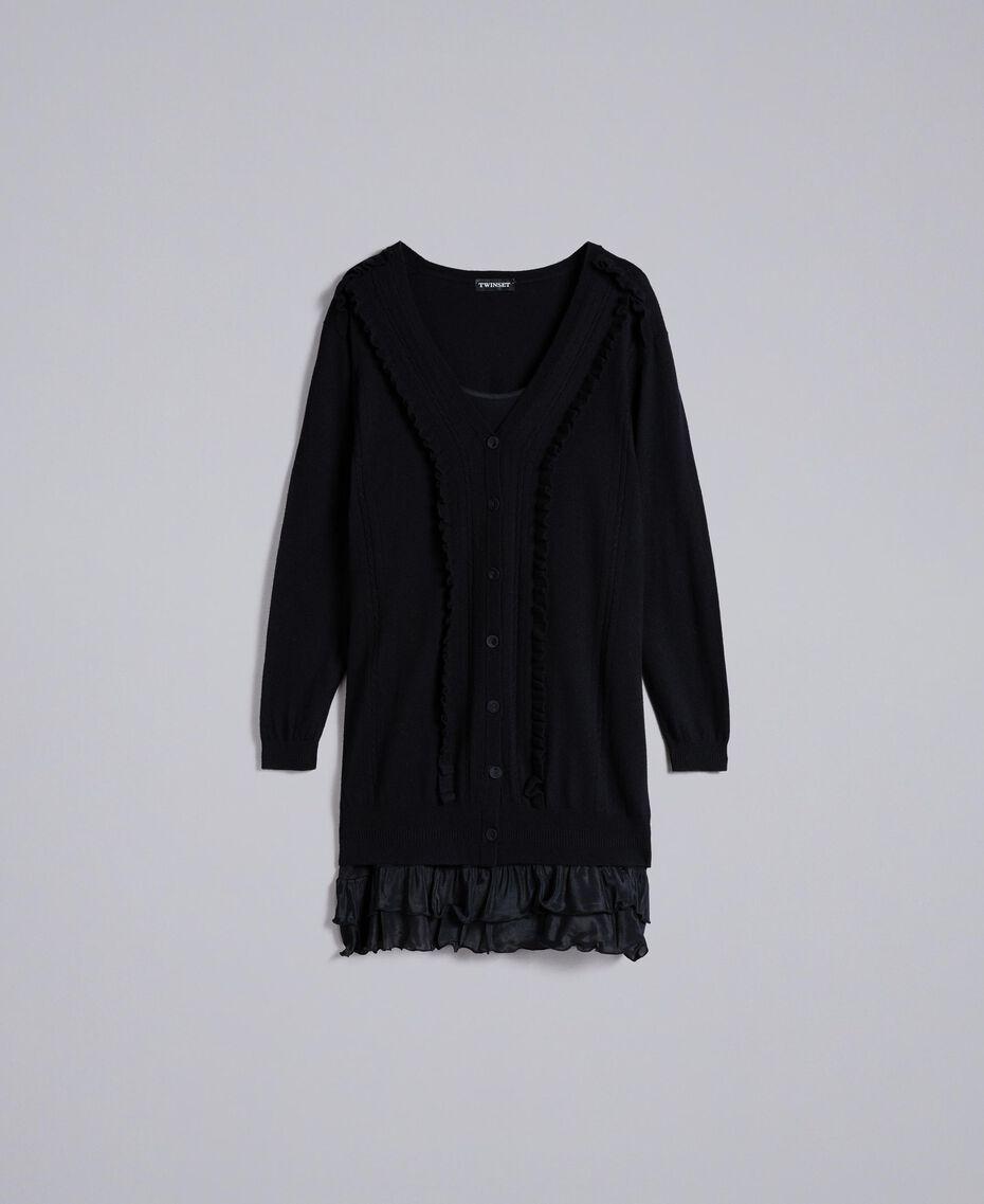Kleid aus Wolle und Kaschmir mit Unterkleid Schwarz Frau PA83AP-0S