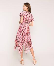 Robe en crêpe georgette imprimé, avec plis et volants Imprimé Géométrique Rose «Bonbon» Femme 201ST2185-03