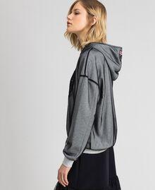 Sweatshirt aus Tüll mit Stickerei Hellgrau-Mélange Frau 192LI2TBB-03