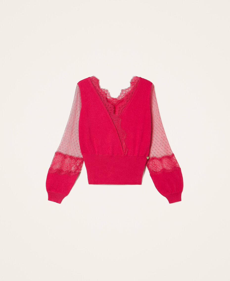 """Tulle and lace jumper """"Cerise"""" Fuchsia Woman 202TP3381-0S"""