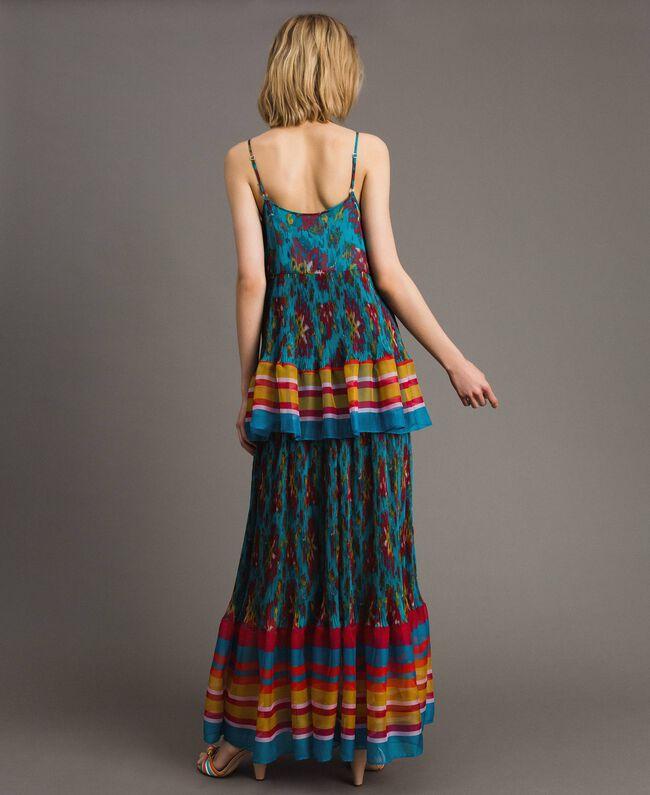 Robe longue en chiffon à imprimé motif floral Multicolore Chiné / Rayures Bleu Céramique Femme 191TT2361-04