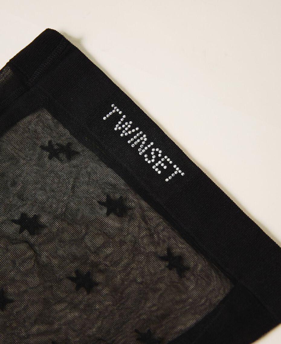 Полупрозрачные колготки со звездочками и логотипом Черный женщина 202TA4361-03