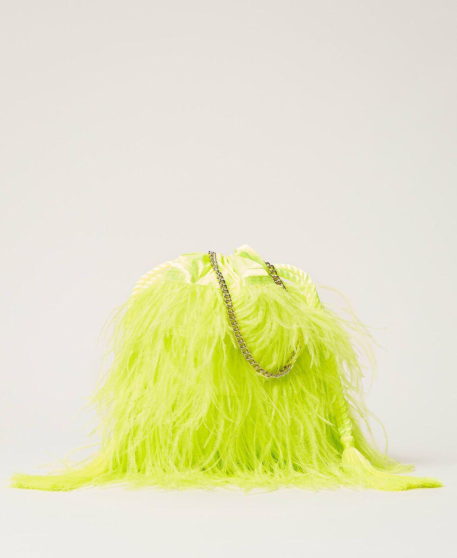 "Атласная сумка с перьями Желтый ""Led"" женщина 211TD8220-01"
