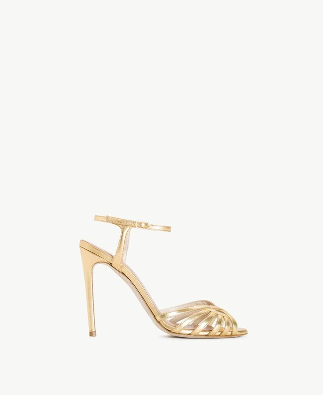 TWINSET Laminated sandals Gold Yellow Woman CS8TBG-01