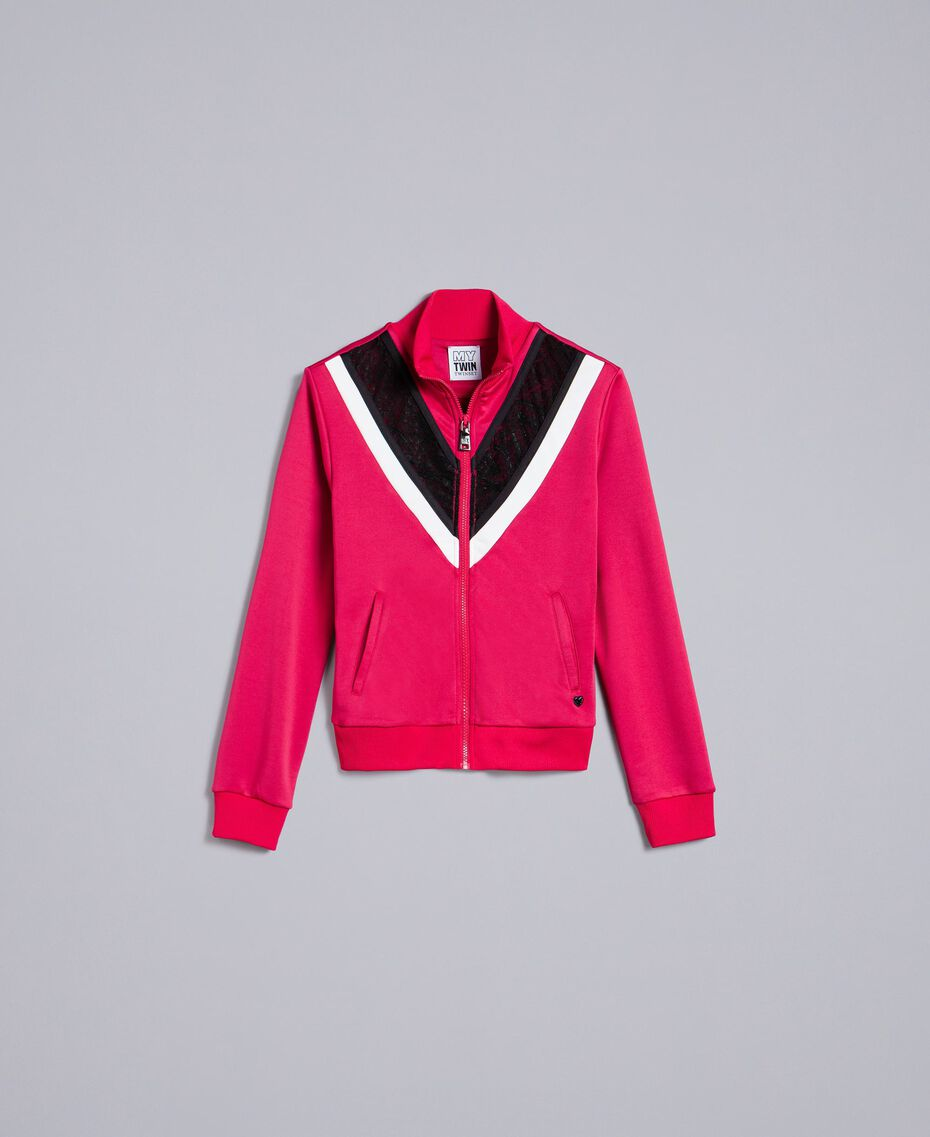 "Sweatshirt with inlays and lace ""Cerise"" Fuchsia Woman YA82K1-0S"