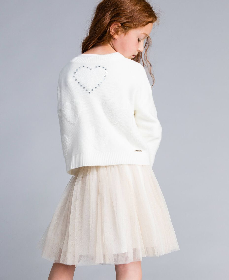 Jumper with terry stitch hearts Off White Child GA83DB-05