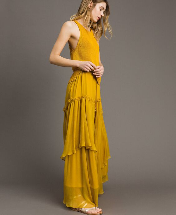Silk creponne long skirt with flounces