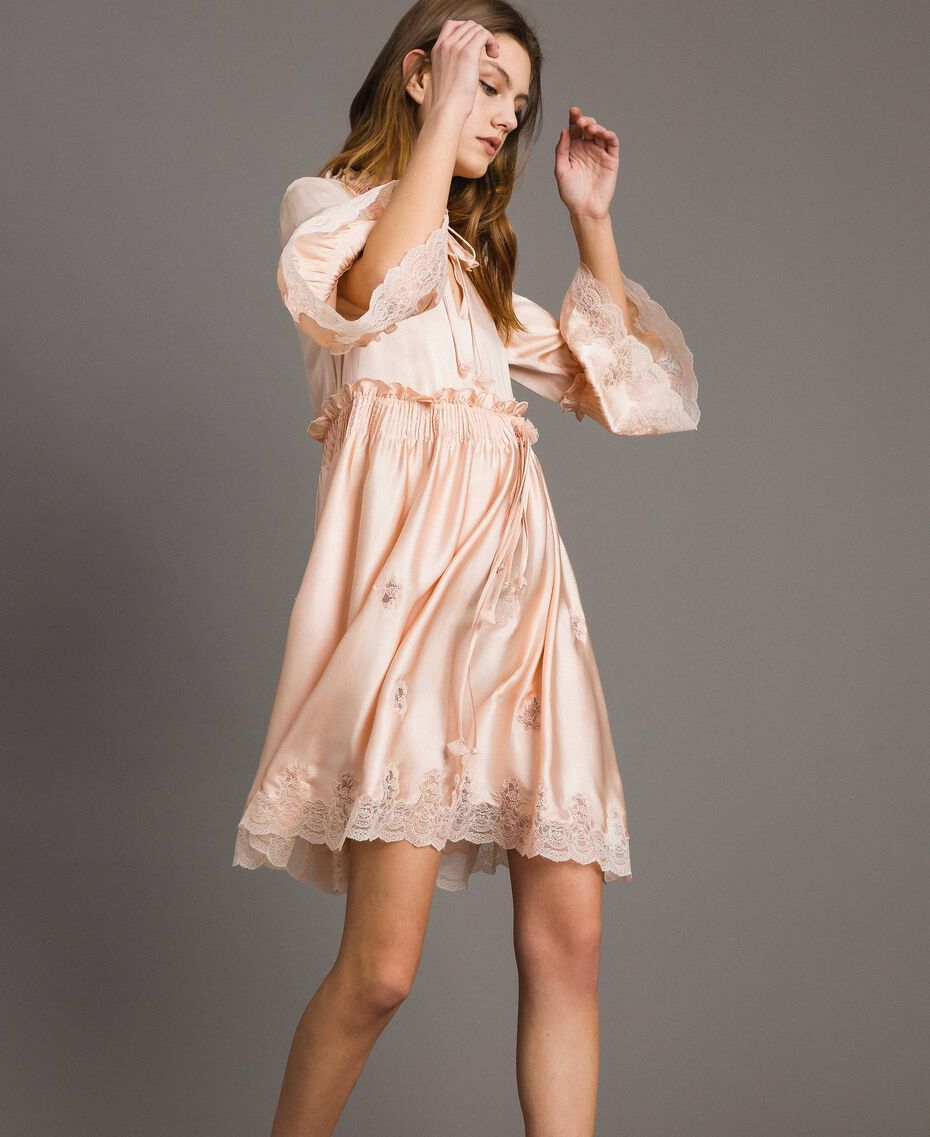"Silk satin dress with lace trims ""Rose Sand"" Pink Woman 191TT2010-02"