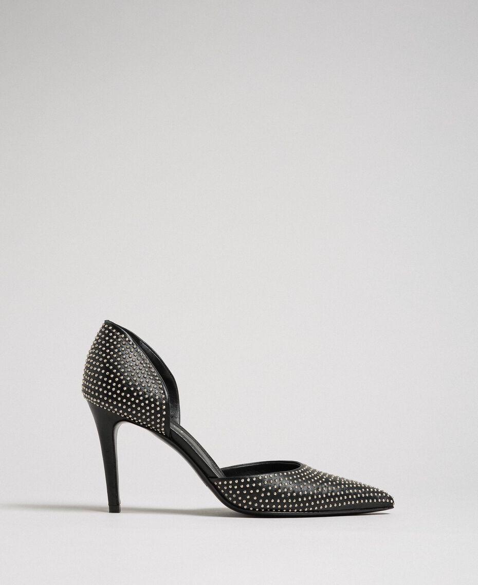 Escarpins en cuir avec clous all-over Noir Femme 192TCP152-02