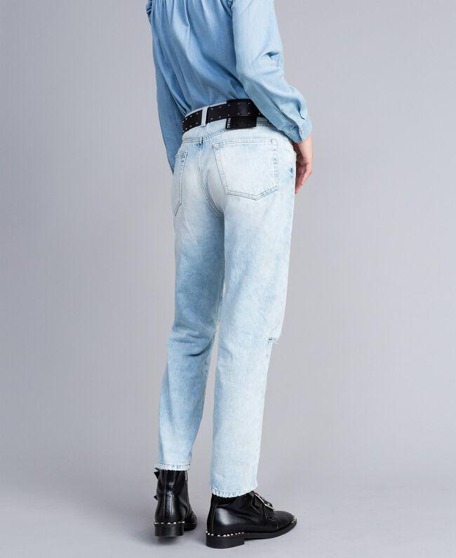 Jeans aus Denim im 80er-Jahre-Stil Denimblau Frau JA82QZ-03