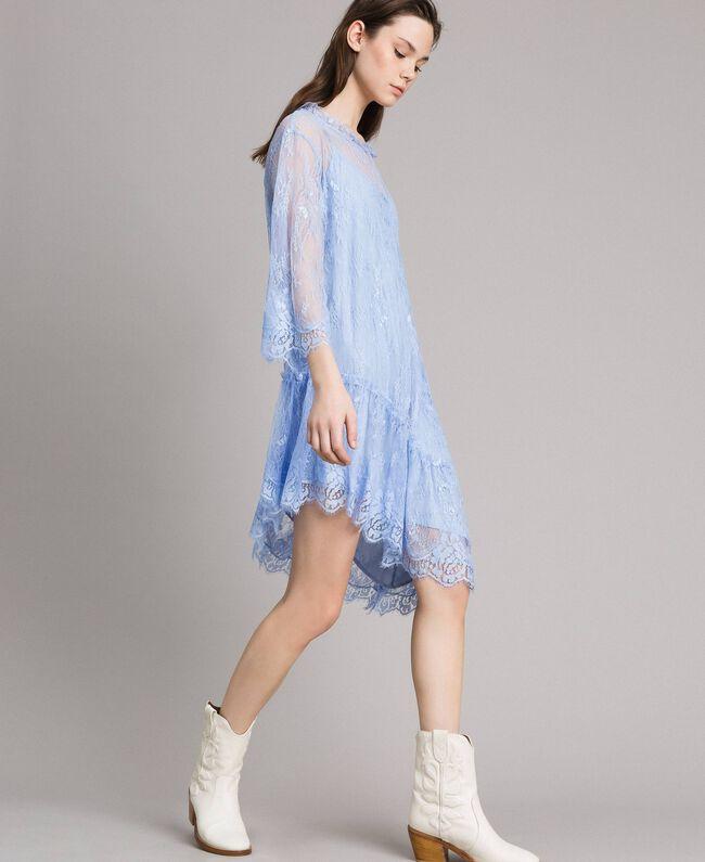 Asymmetric Chantilly Lace Dress Woman Light Blue Twinset