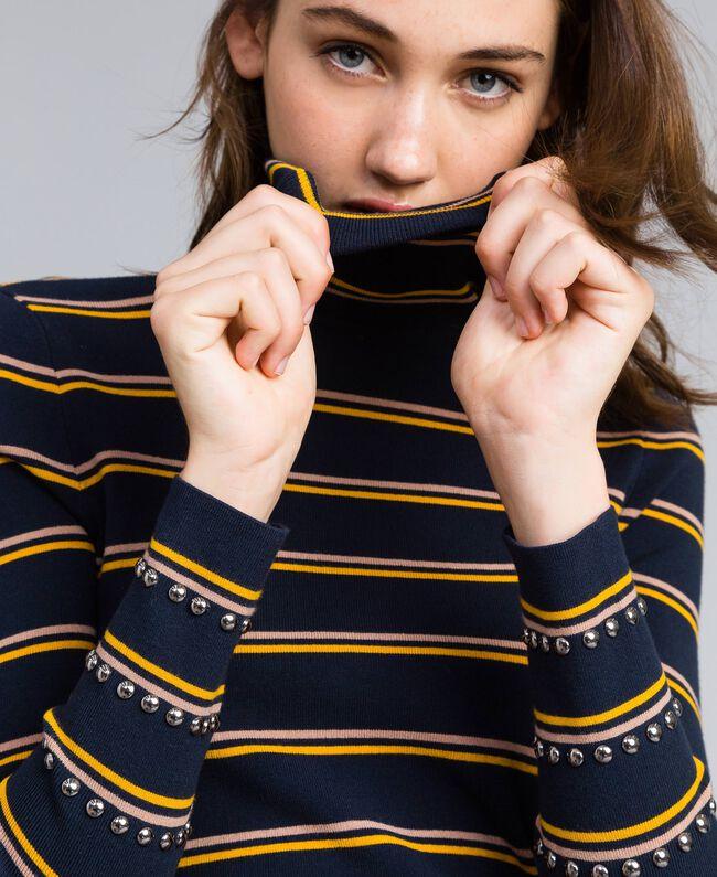 Two-tone striped viscose mock neck jumper Night Blue / Golden Yellow / Caramel Stripe Woman YA83DD-04