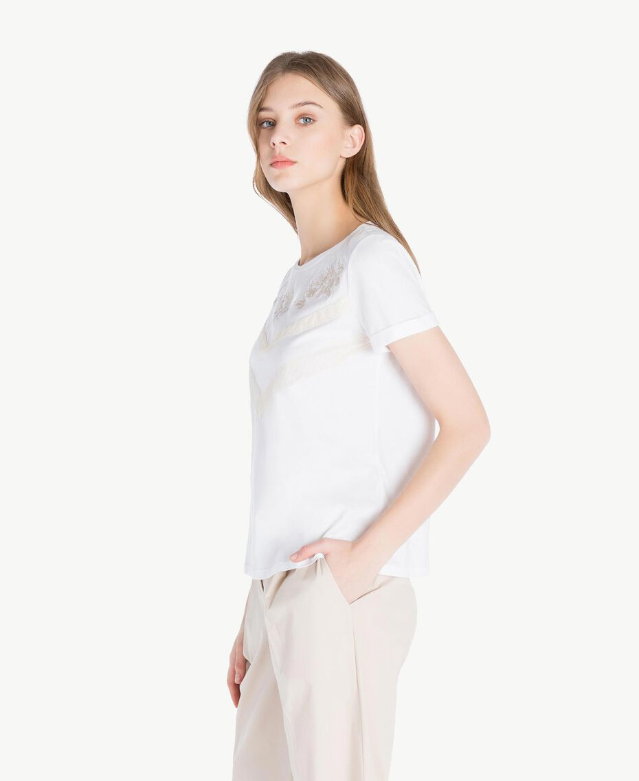 Embroidered T-shirt White Woman TS829N-02