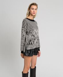 Houndstooth and animal print jacquard jumper Black Jacquard / Platinum Woman 192TT3292-03