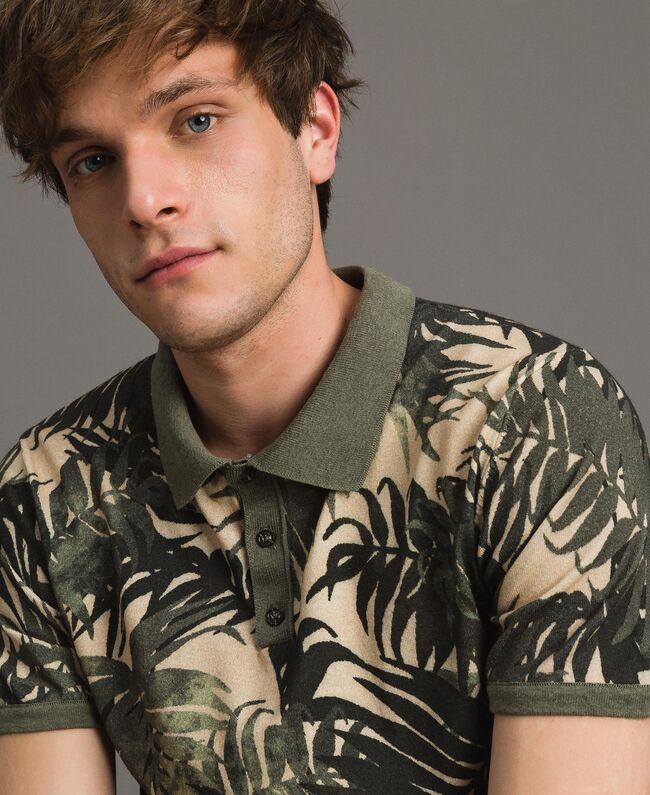 "Crêpe cotton printed polo shirt All Over ""Palms"" Camouflage Print Man 191UT3061-04"