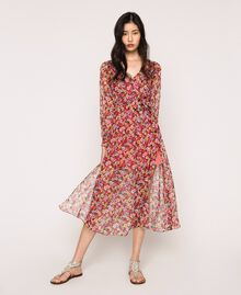 """Floral chiffon full-length gown """"Jasper"""" Red Pansies Print Woman 201TP2545-01"""