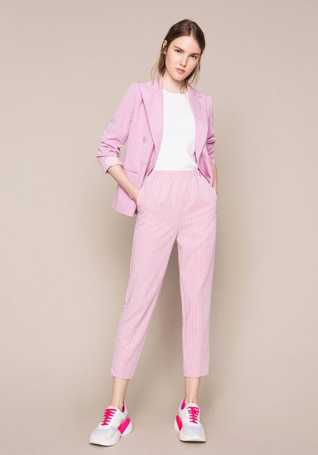 Pin stripe cigarette trousers