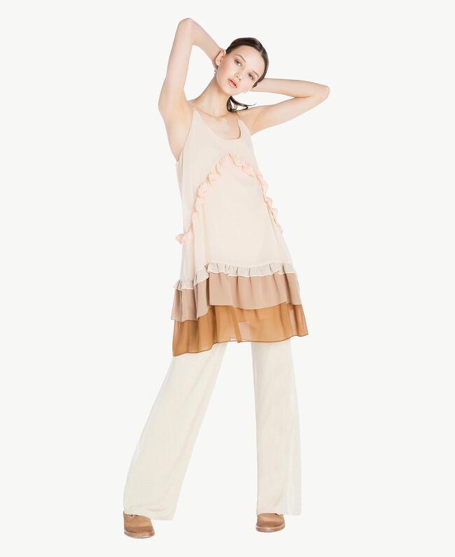 Kleid mit Volants Multicolor Seilbeige Frau SS82DC-05