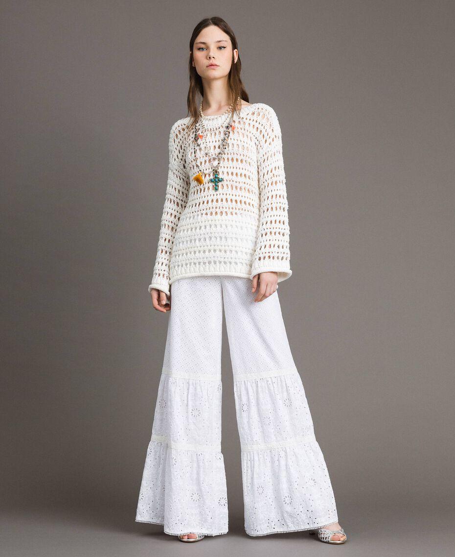 Pantalon en broderie anglaise avec cordon à la taille Blanc Femme 191MT2034-0T