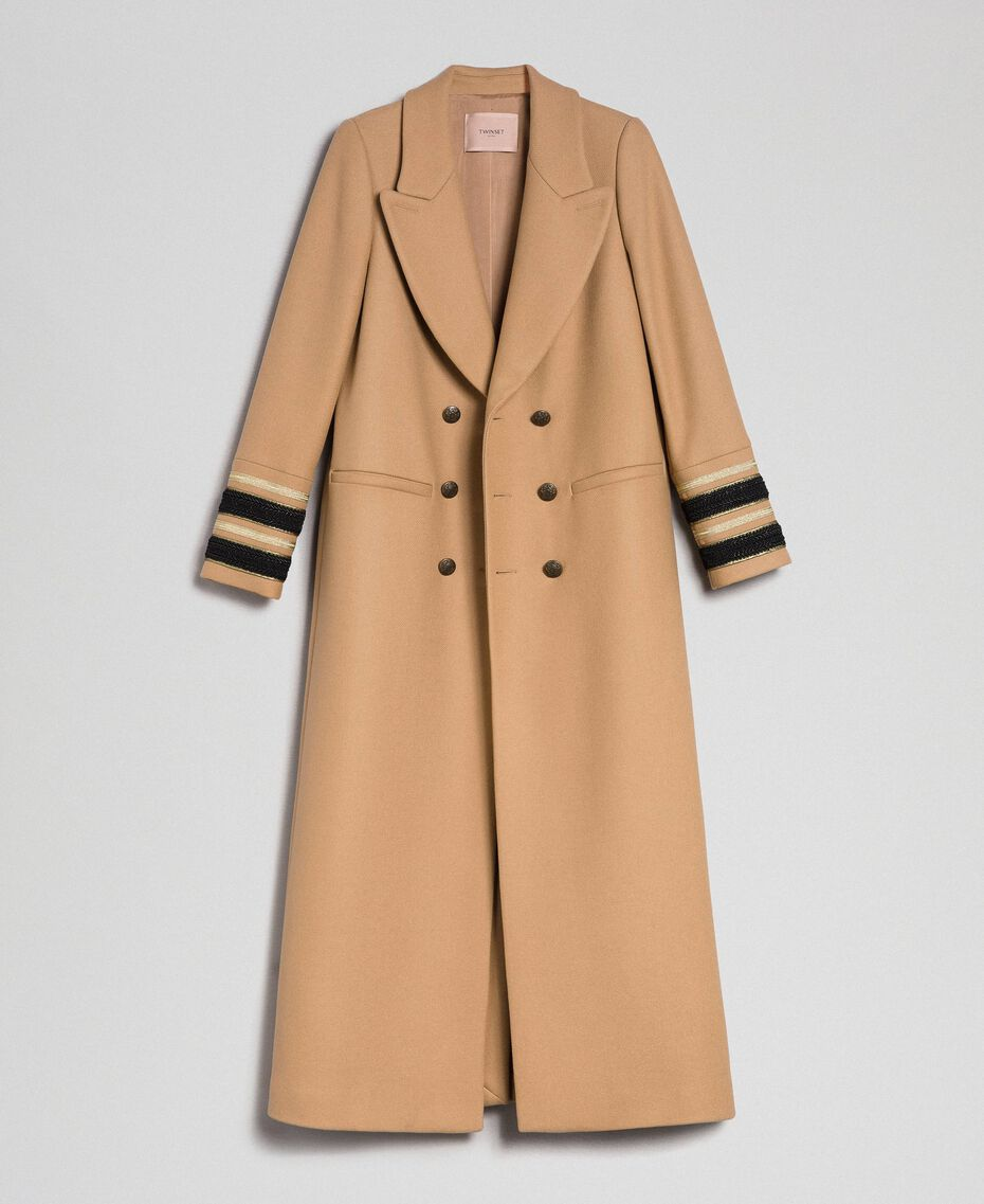 Manteau long croisé en drap Camel Femme 192TT2160-0S
