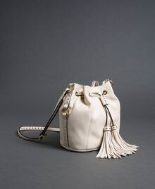 Faux leather bucket bag with studs White Snow Woman 192TO8163-01
