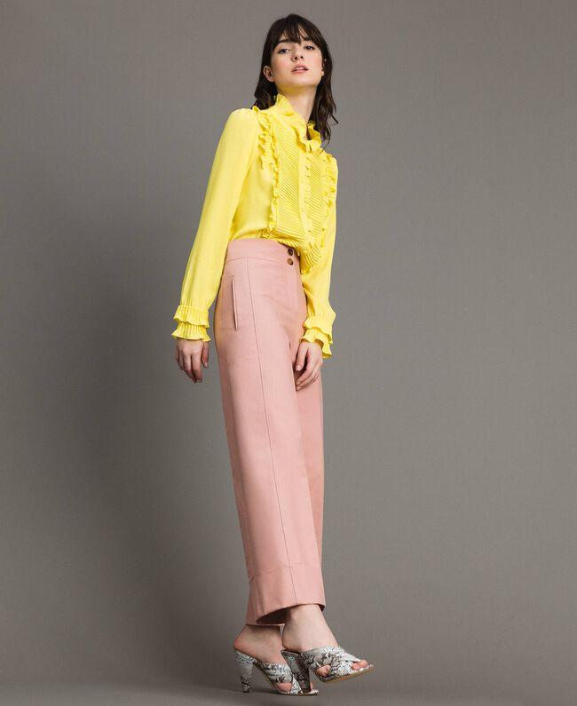 Rüschen-Hemd aus Seide-Mix Gelb Frau 191TP2134-03