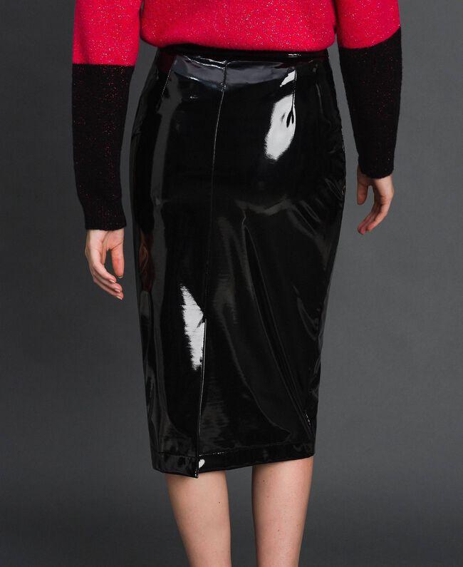 Jupe mi-longue en similicuir effet verni Noir Femme 192MT2091-03