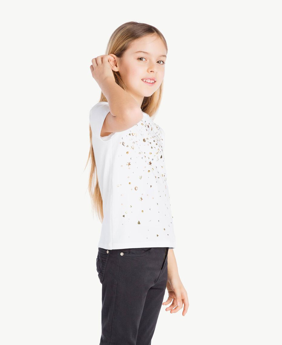 "T-shirt clous Blanc ""Papers"" Enfant GS82G3-03"