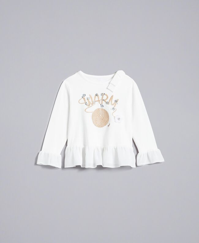 T-shirt in cotone con strass Off White Bambina FA822A-01